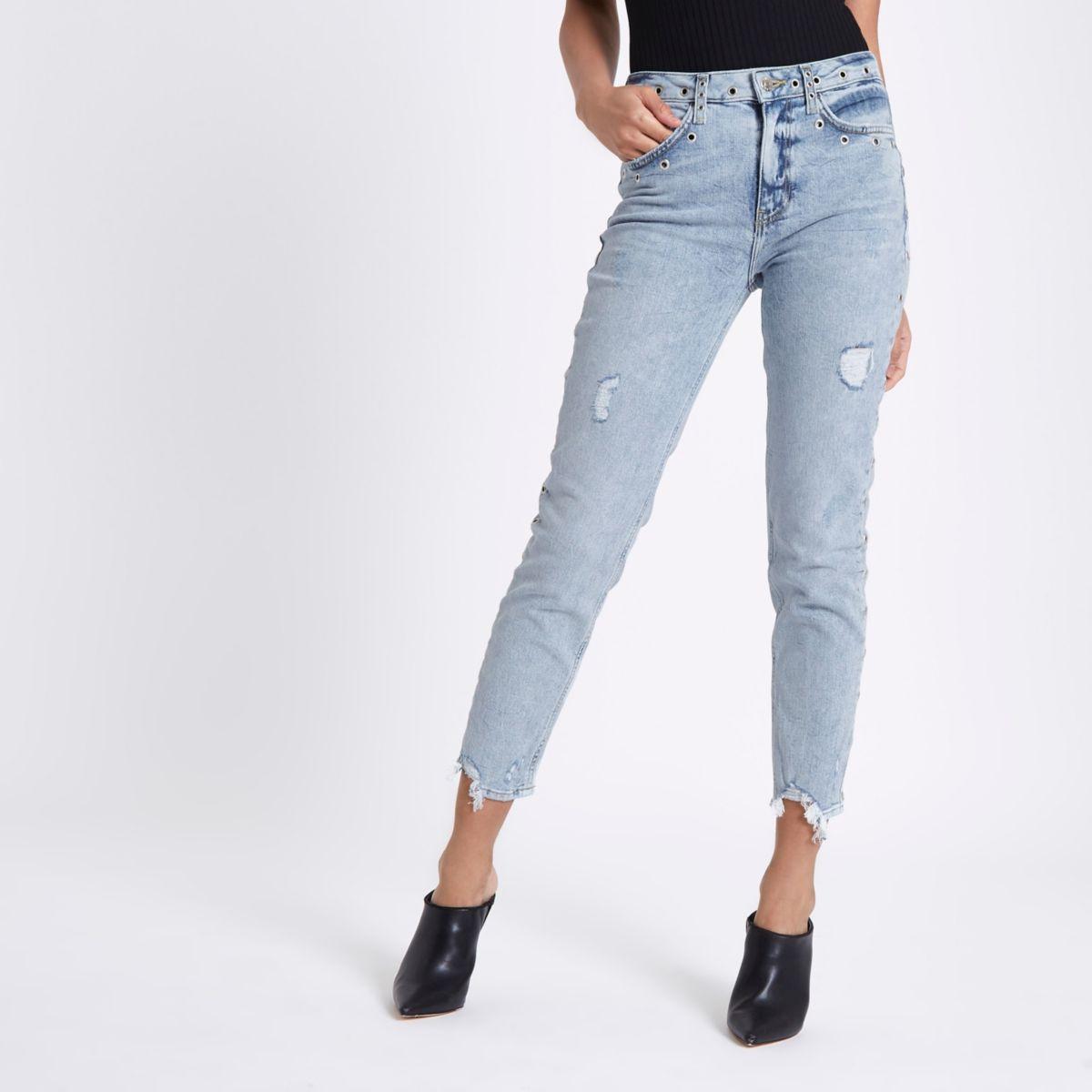 Casey - Lichtblauwe slim-fit jeans met oogjes