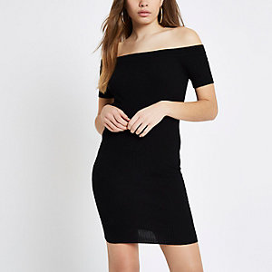 Black rib knit lace-up back bardot dress