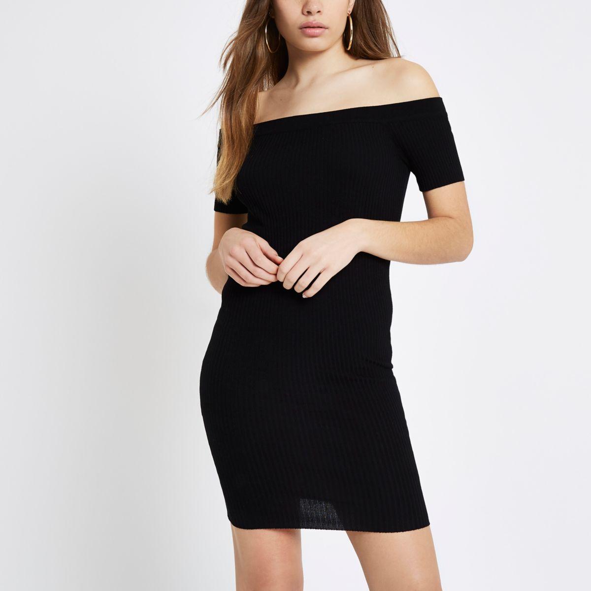 Black rib knit lace-up back bardot dress