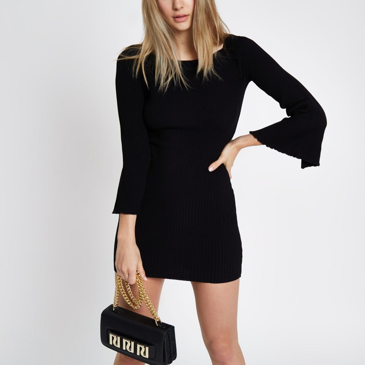 Black rib knit bardot bell sleeve dress