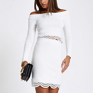 White knit scallop lace hem bardot top