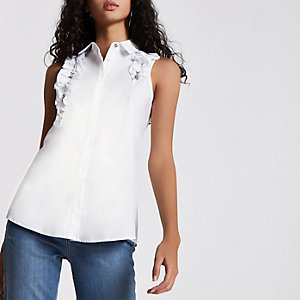 White frill and gem embellished top