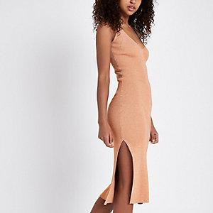 Bronskleurig metallic geribbelde gebreide midi-jurk