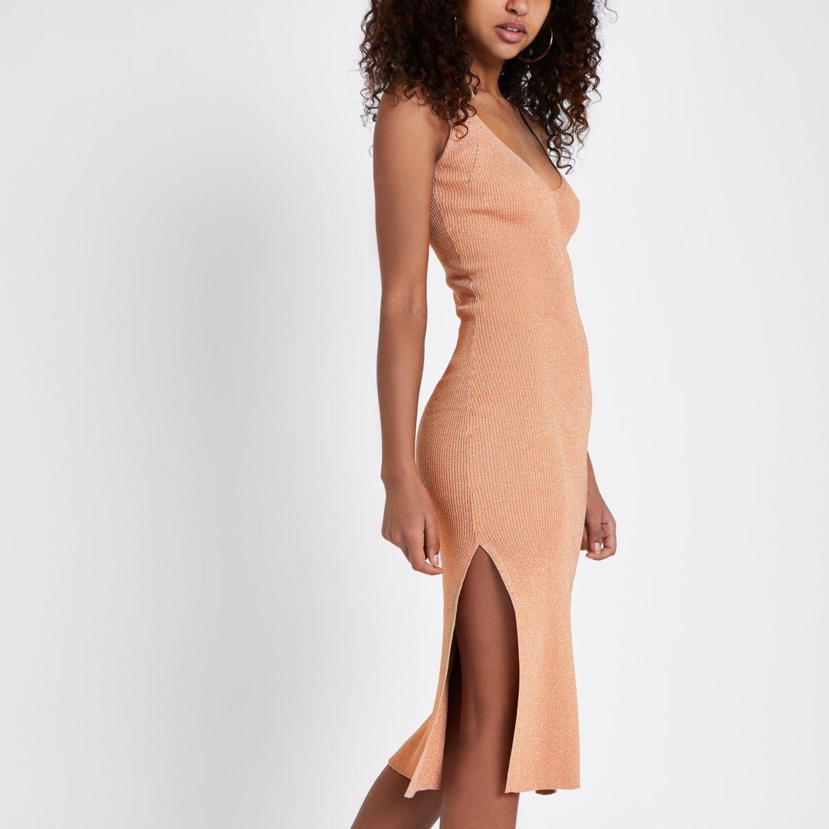 Bronze metallic ribbed knit midi vest dress