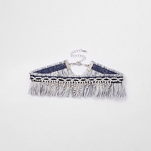 Navy diamante frayed choker