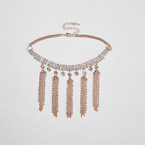 Rose gold tone diamante tassel choker