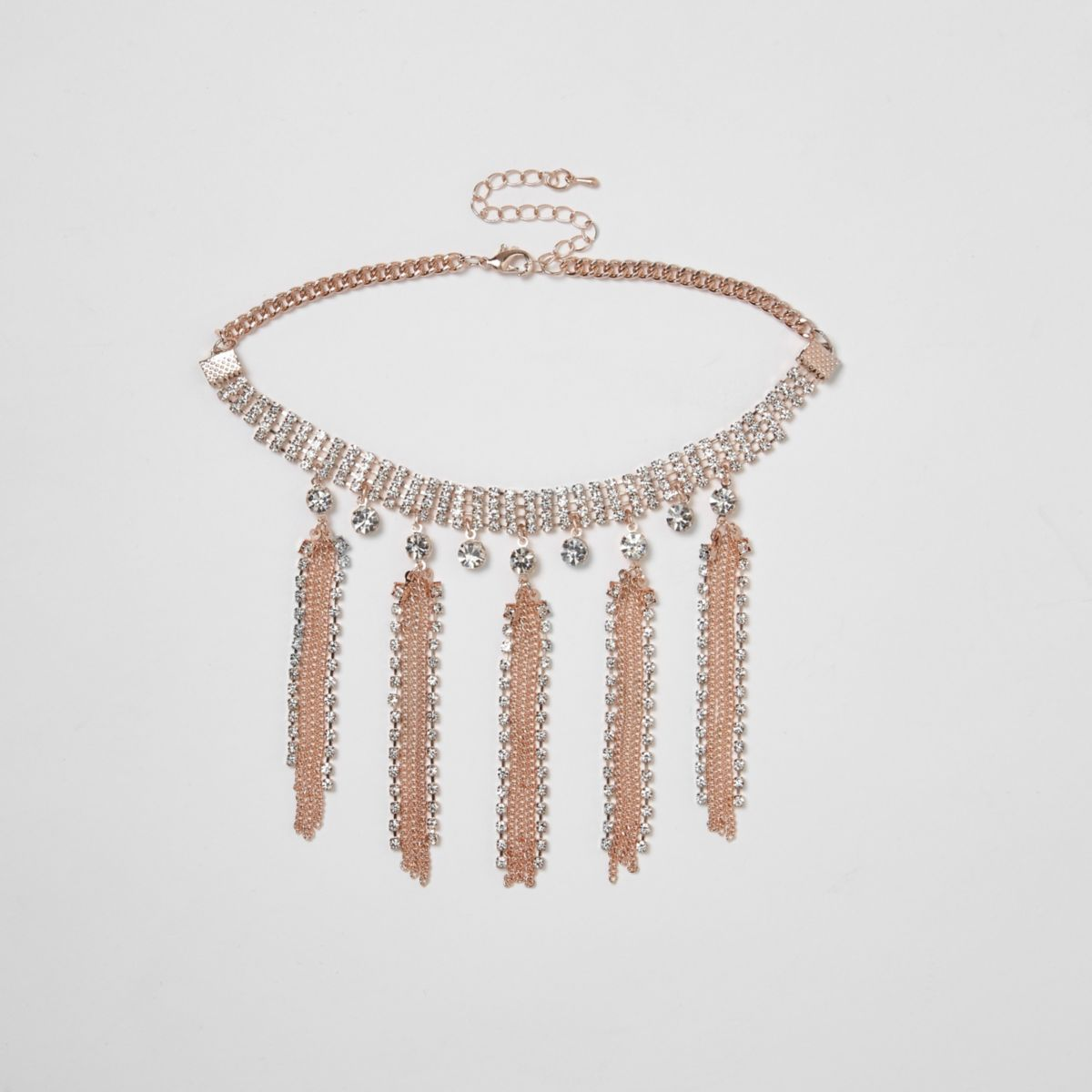 Rose gold tone diamante tassel choker