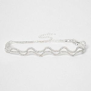 Zilverkleurige golvende chokerketting met siersteentjes