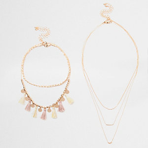 Gold tone choker tassel necklace pack
