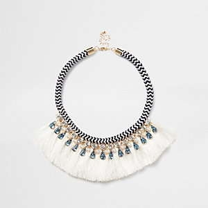 Blue statement rope necklace