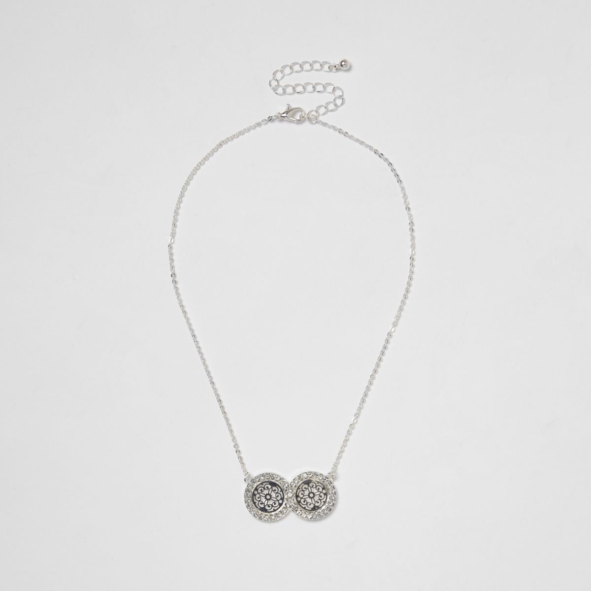 Silver tone double filigree coin necklace