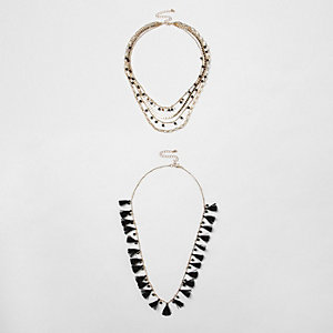 Black tassel bead multilayer necklace set
