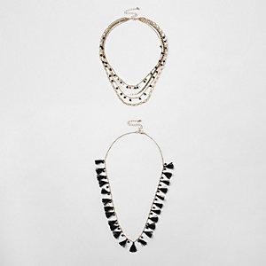 Ensemble de colliers à superposer à perles et pampilles noirs