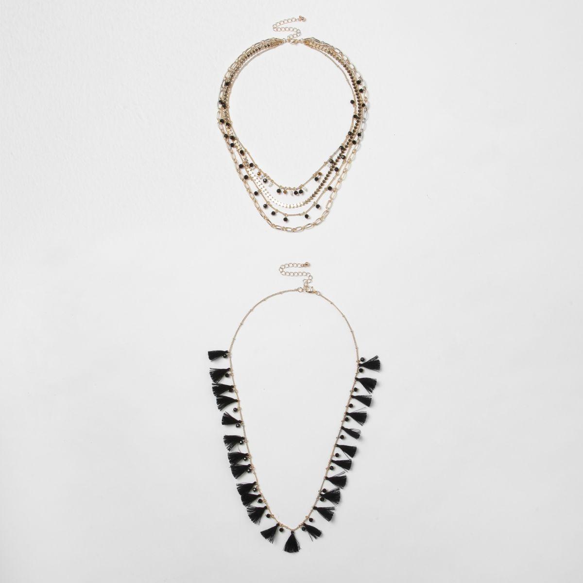 Black tassel bead multilayer necklace set