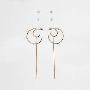 Gold tone hoop chain earrings pack