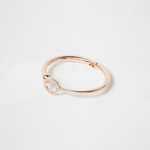 Rose gold tone diamante pave circle cuff
