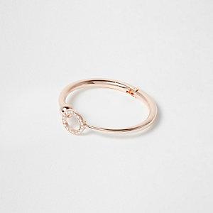 Rose gold tone rhinestone pave circle cuff