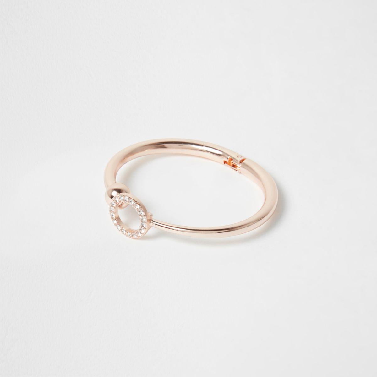 Rose gold tone diamante pave circle cuff