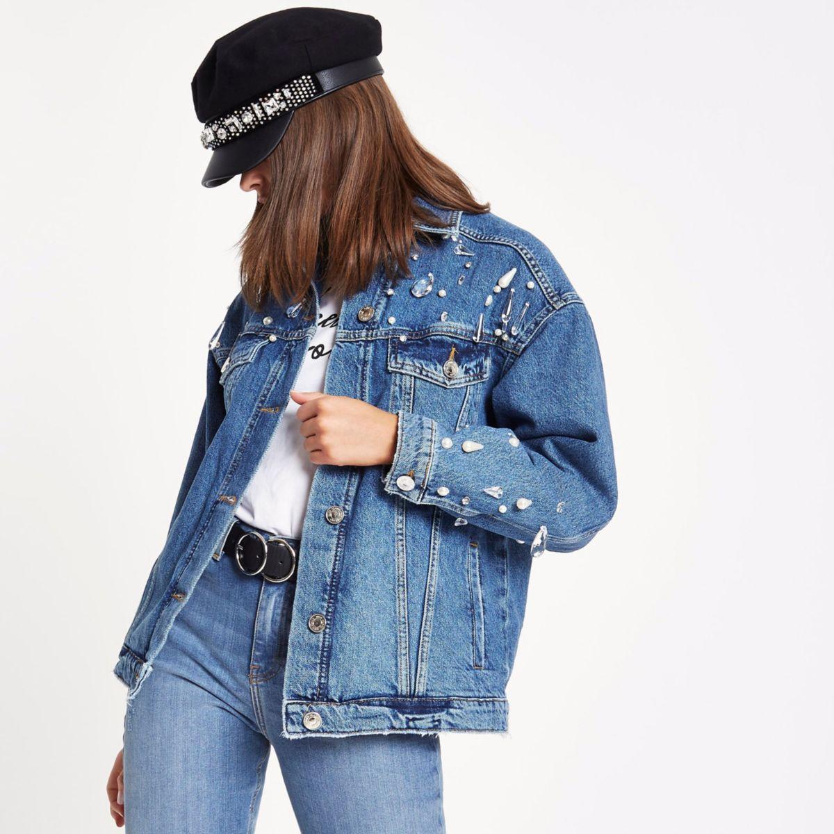 Blue embellished oversized denim jacket