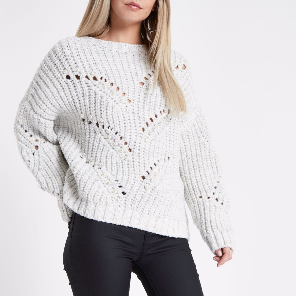 Petite cream pearl embellished knit sweater