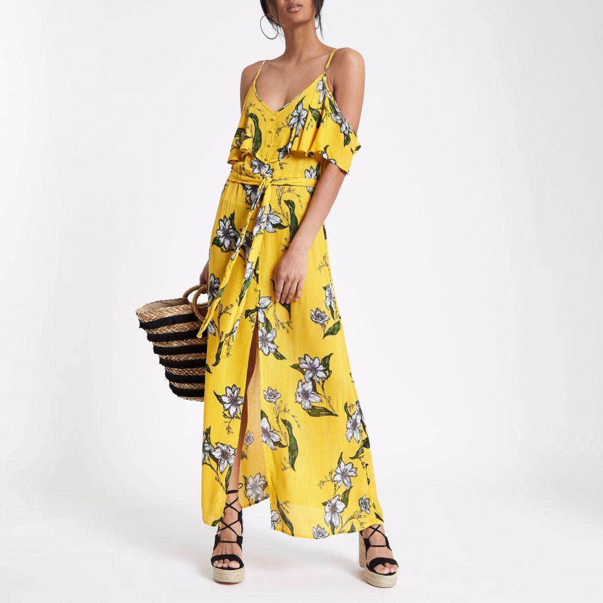 Yellow floral print cold shoulder maxi dress