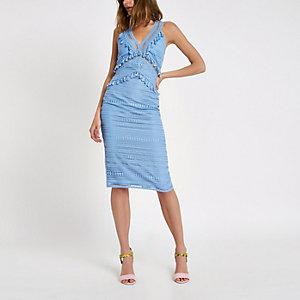 Blauwe kanten midi-jurk met kwastje
