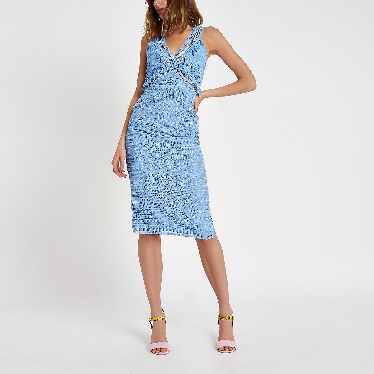 Blue lace tassel midi dress
