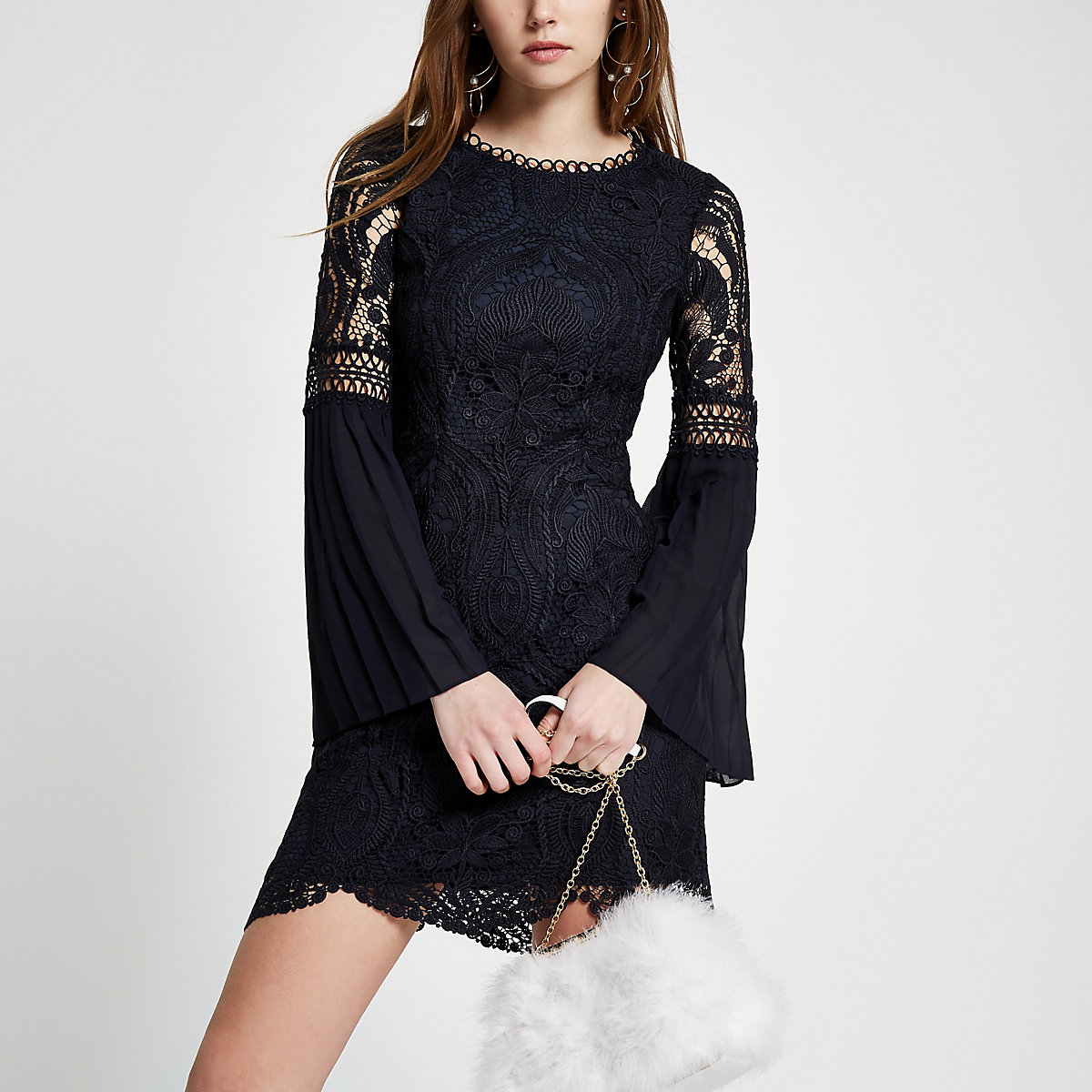 Navy lace embroidered bodycon midi dress