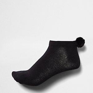 Zwarte sneakersokken met pompon aan de hiel