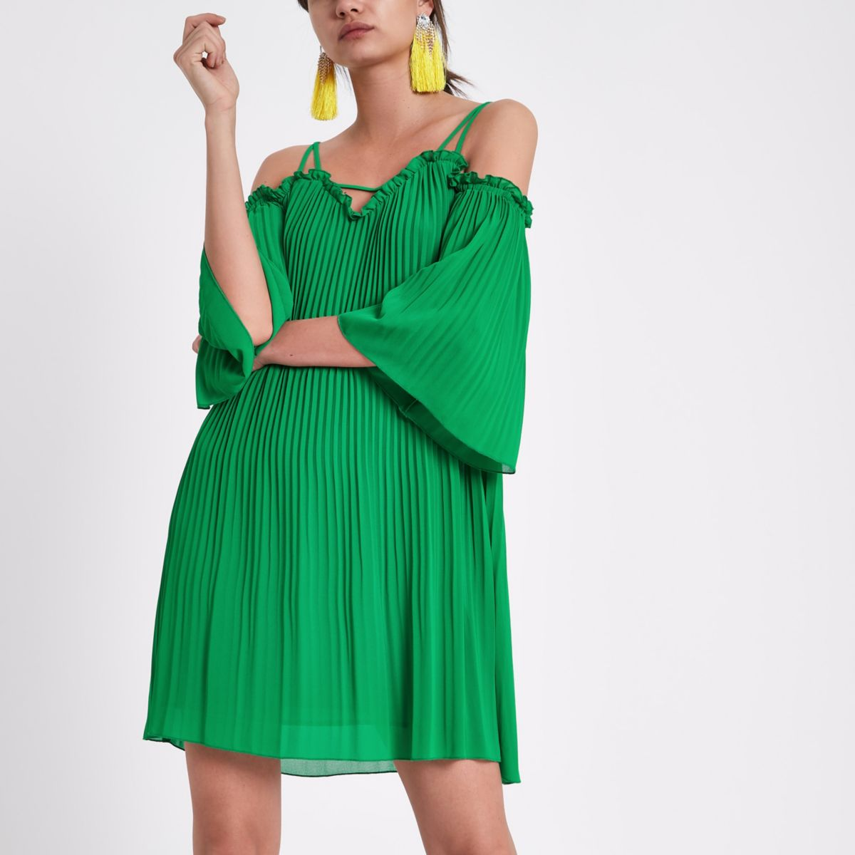 Green plisse cold shoulder swing dress