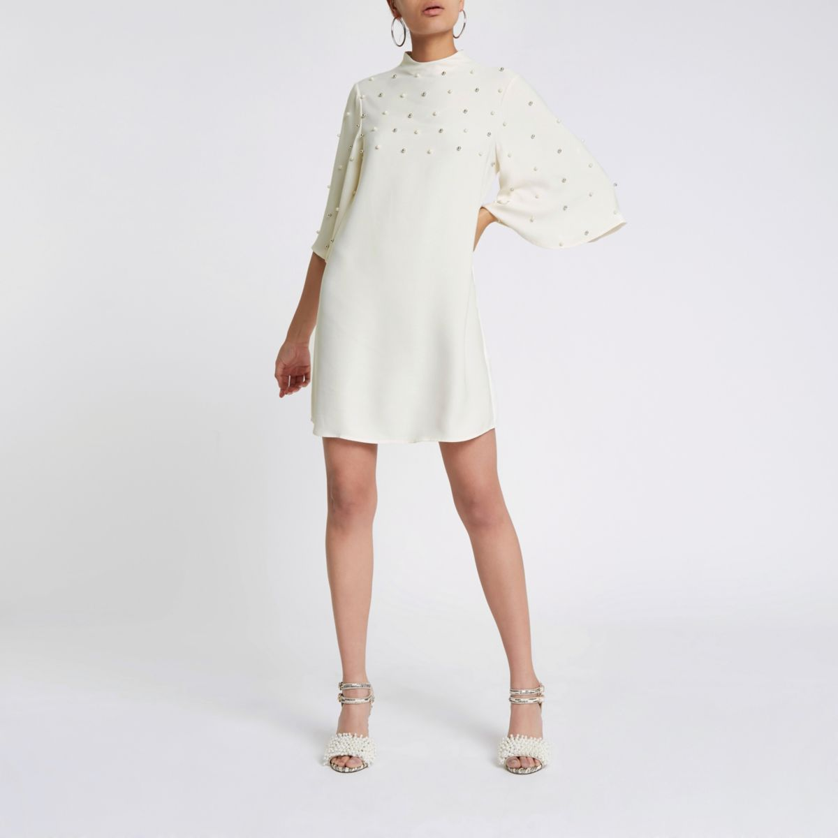 Cream satin faux pearl swing dress