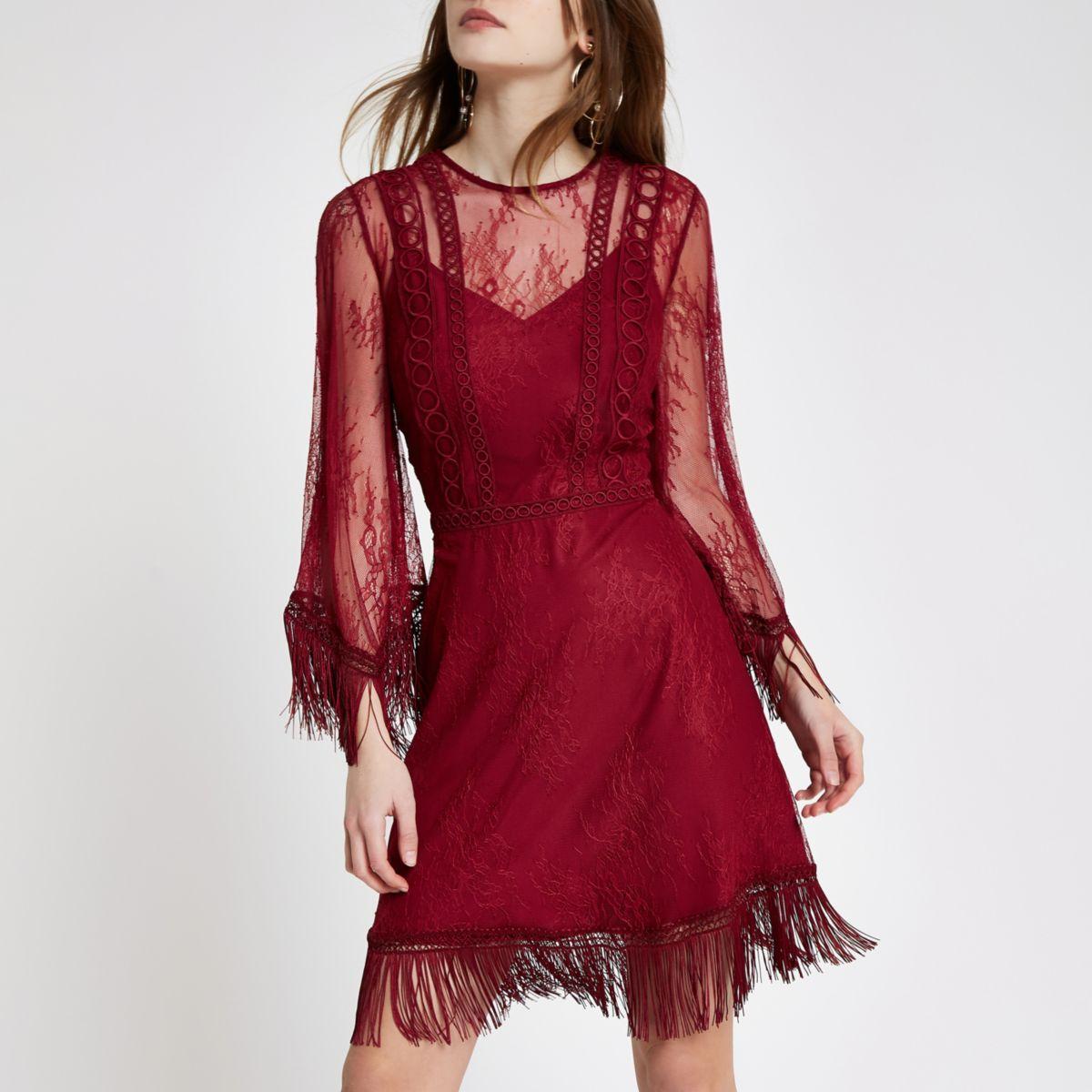 Dark red mesh lace fringe occasion dress