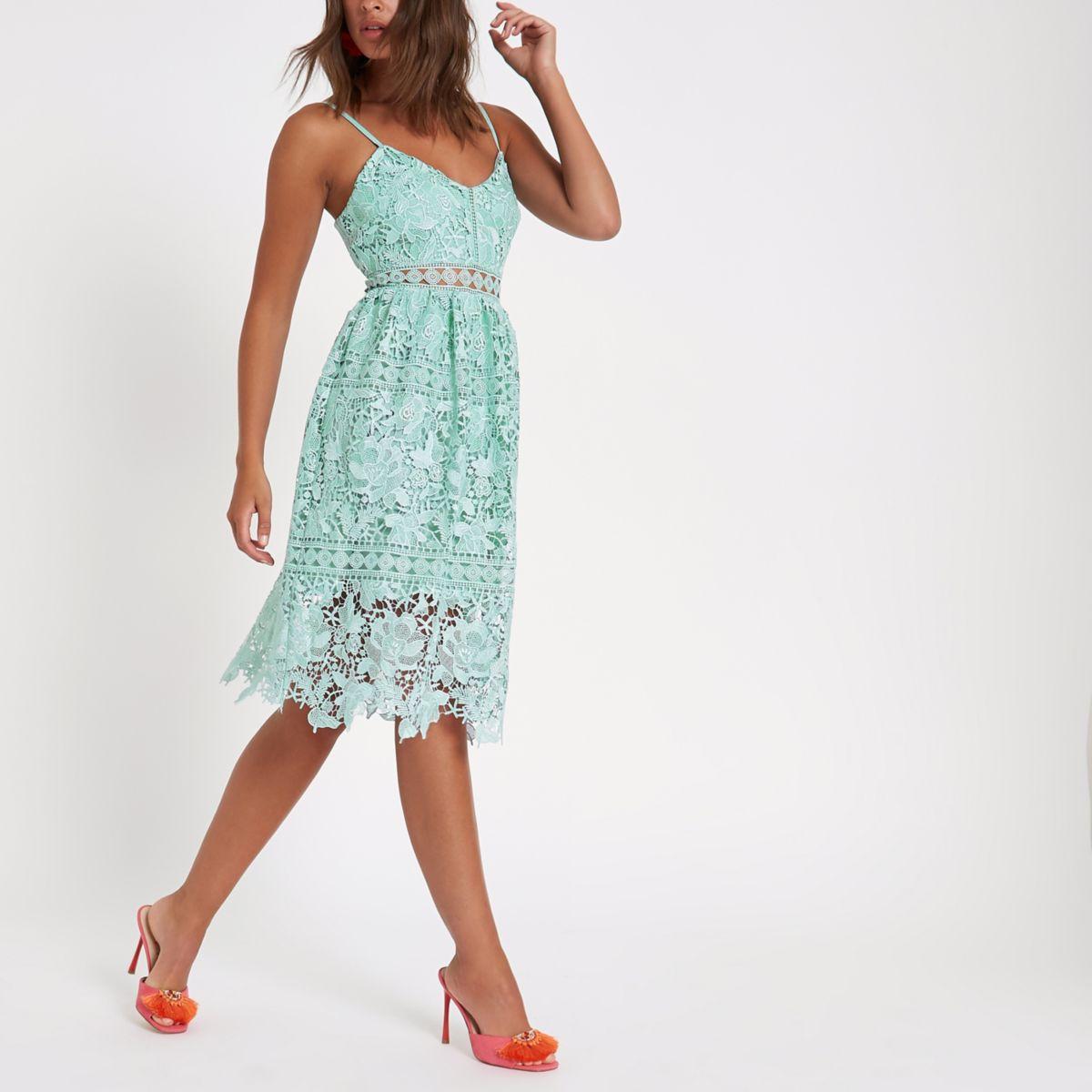 Green lace cami midi dress