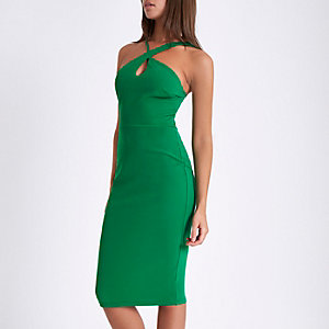 Green strappy cross neck bodycon midi dress