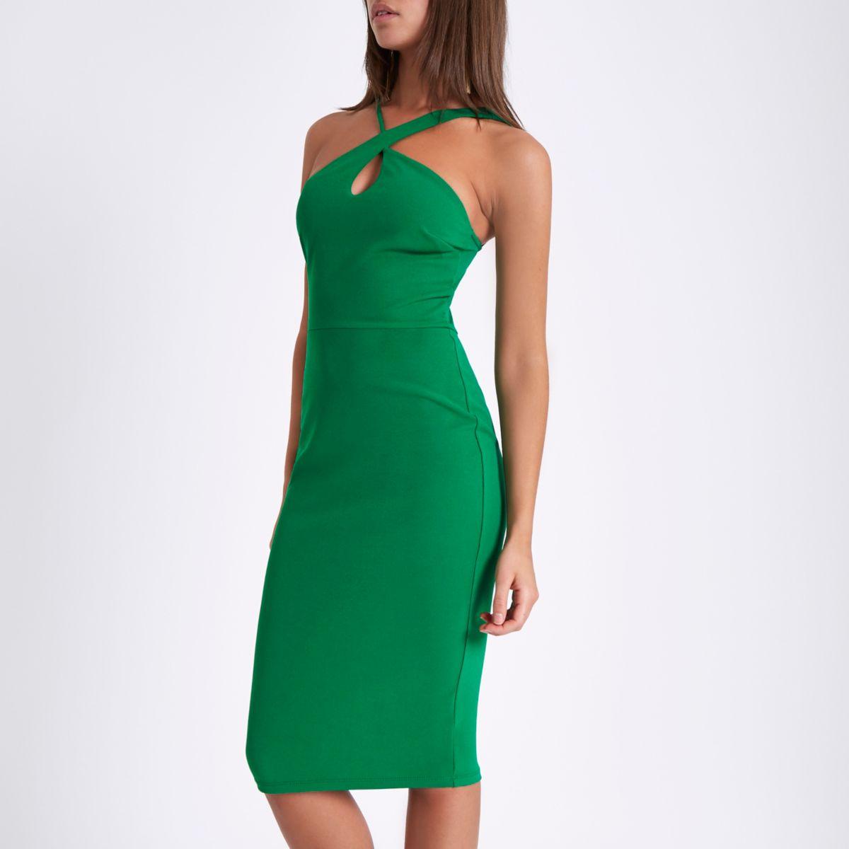 Green strappy cross neck bodycon midi dress