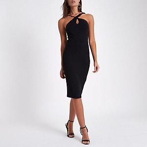 Schwarzes Bodycon-Kleid mit überkreuzten Trägern