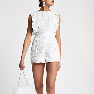 White lace frill sleeveless romper