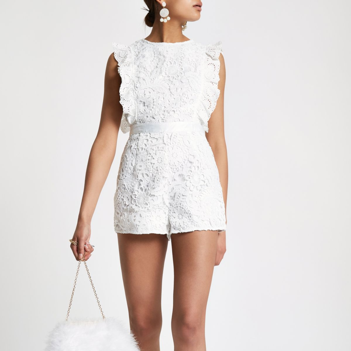 White lace frill sleeveless playsuit