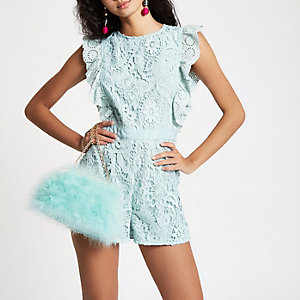Mint green lace frill sleeveless playsuit