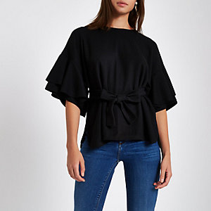 Black brushed jersey frill sleeve peplum top