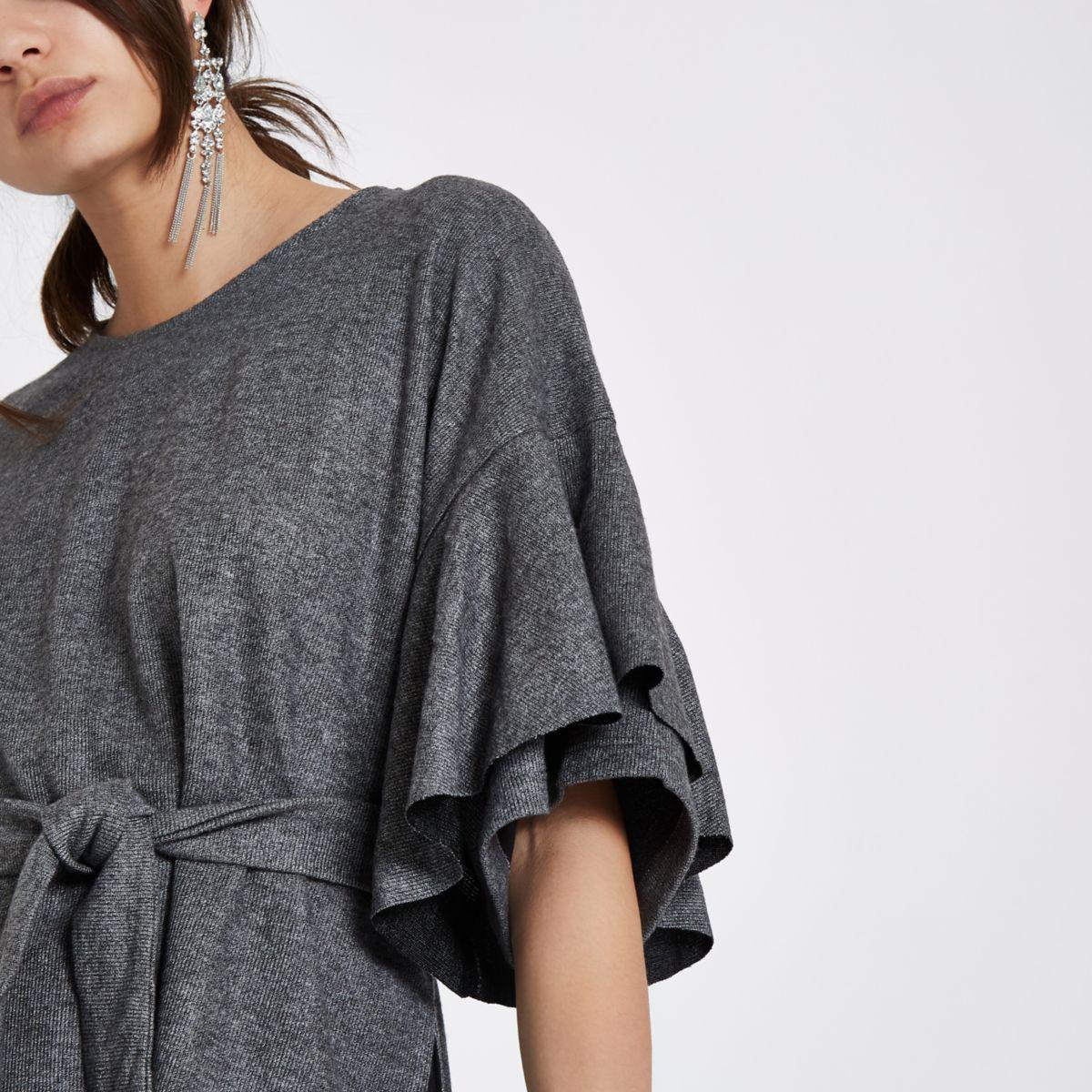 Grey brushed jersey frill sleeve peplum top