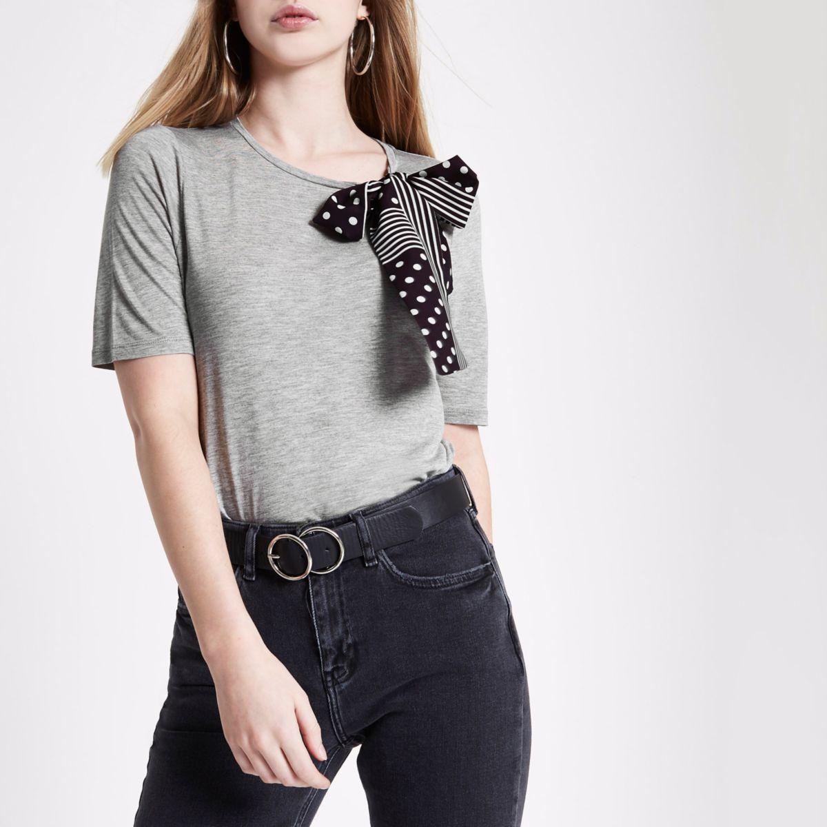 Grey marl polka dot scarf bow top