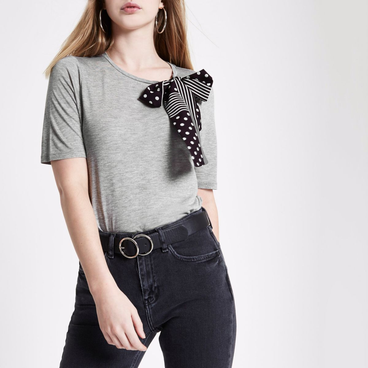 Grey marl polka dot scarf bow top