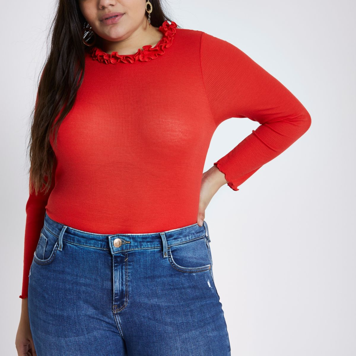 Plus red rib frill neck long sleeve top