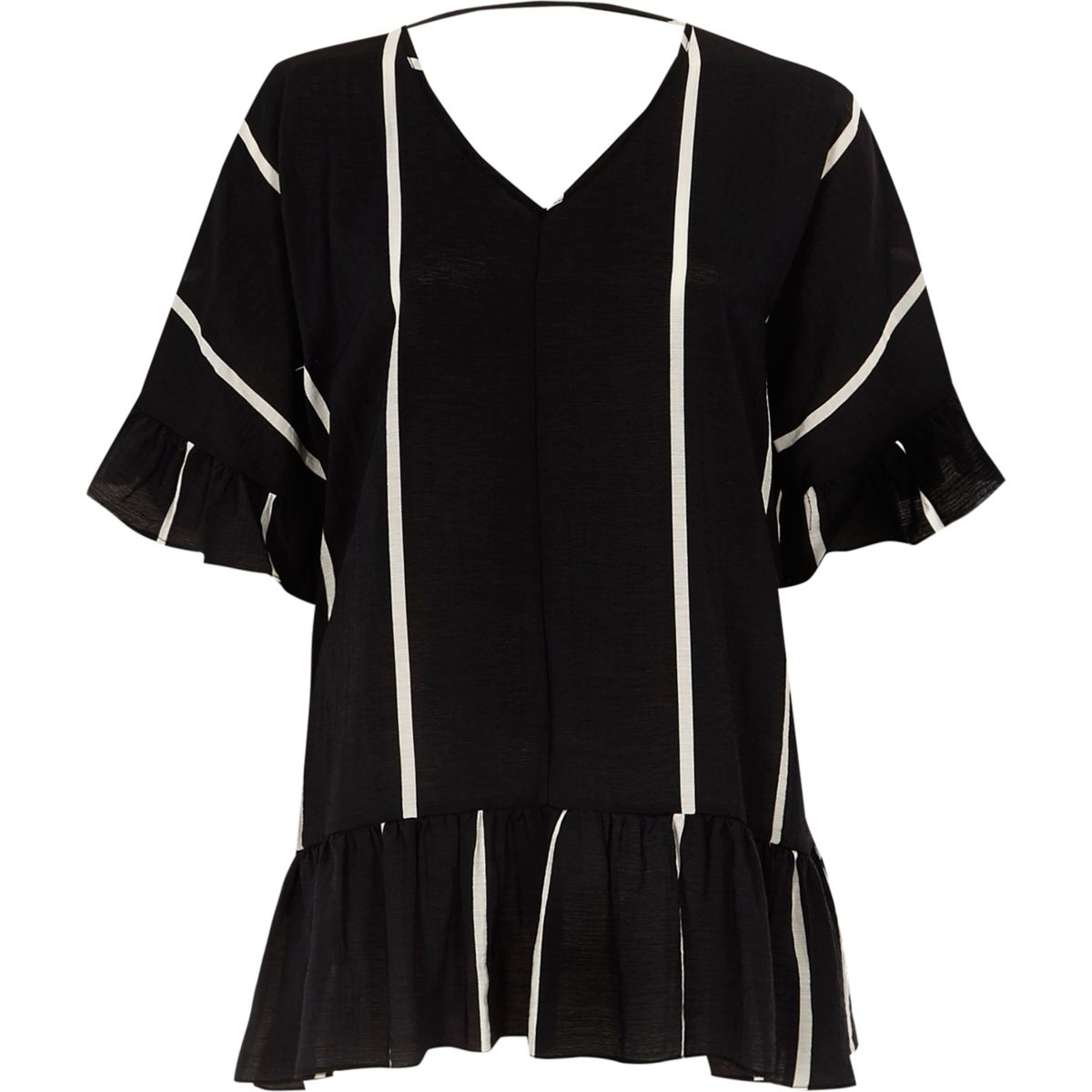 Black stripe print frill sleeve peplum top