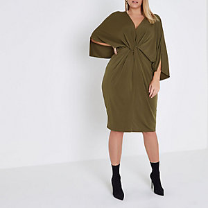Plus khaki twist ring front midi dress