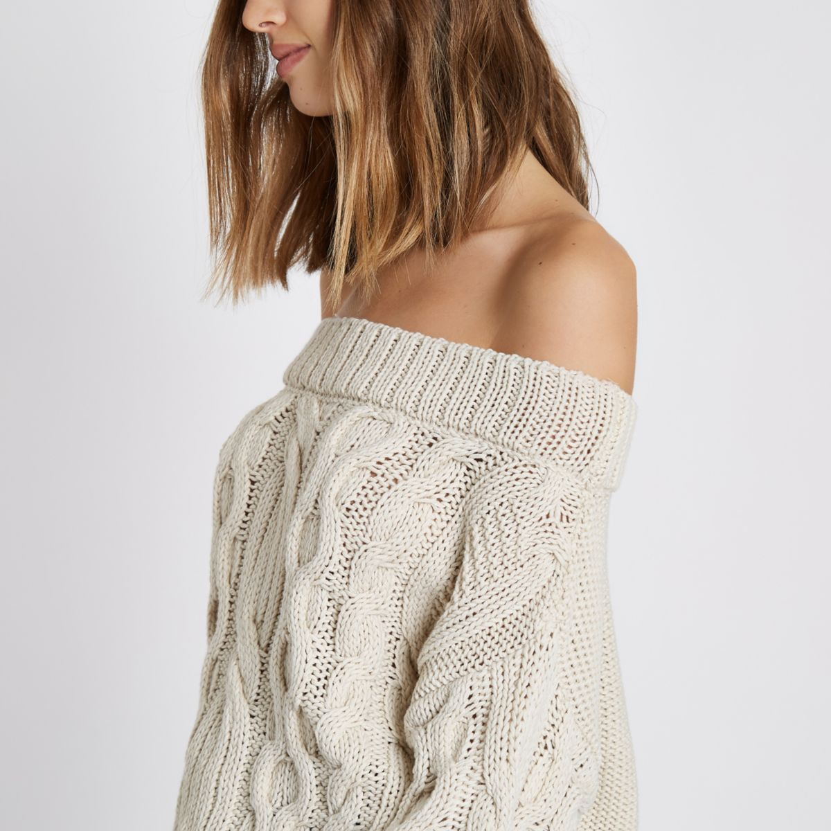 Cream cable knit bardot jumper