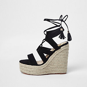 Black lace-up espadrille wedges sandals