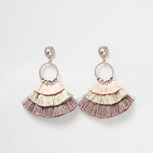 Cream layered tassel circle drop earrings