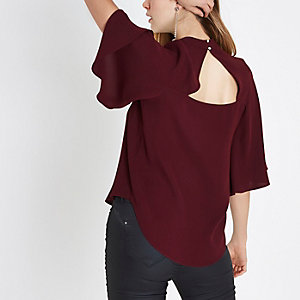 Dark red high neck cape sleeve top